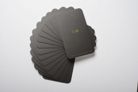round corners silk business cards