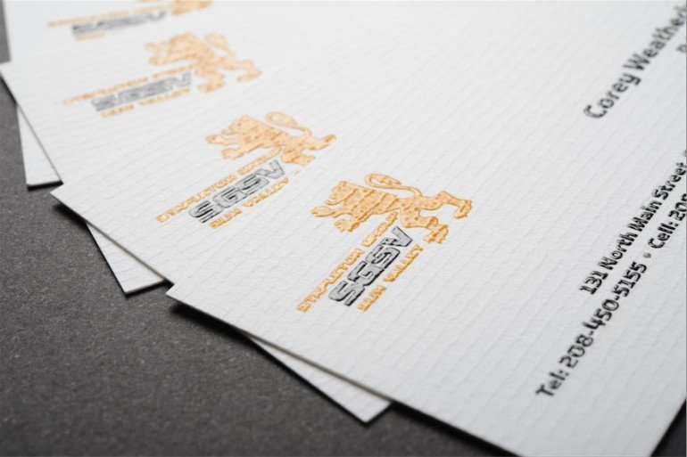 two color raised ink business cards