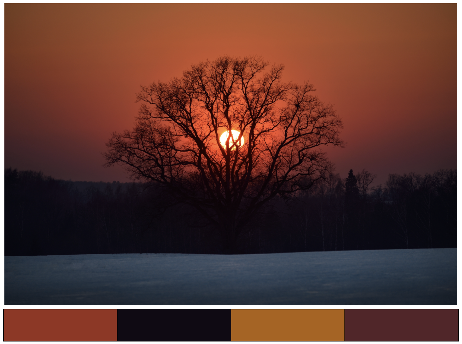 winter sunset color scheme ideas