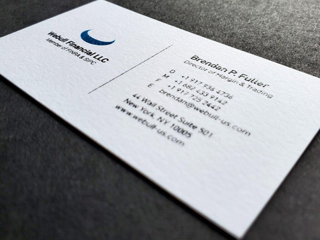 Business card for Webull